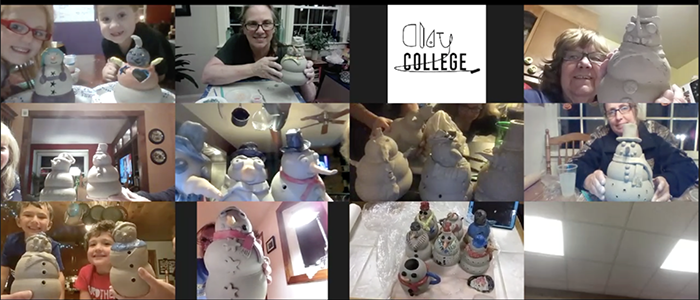 Instructor on a Zoom call demonstrating how to make a pottery snowman